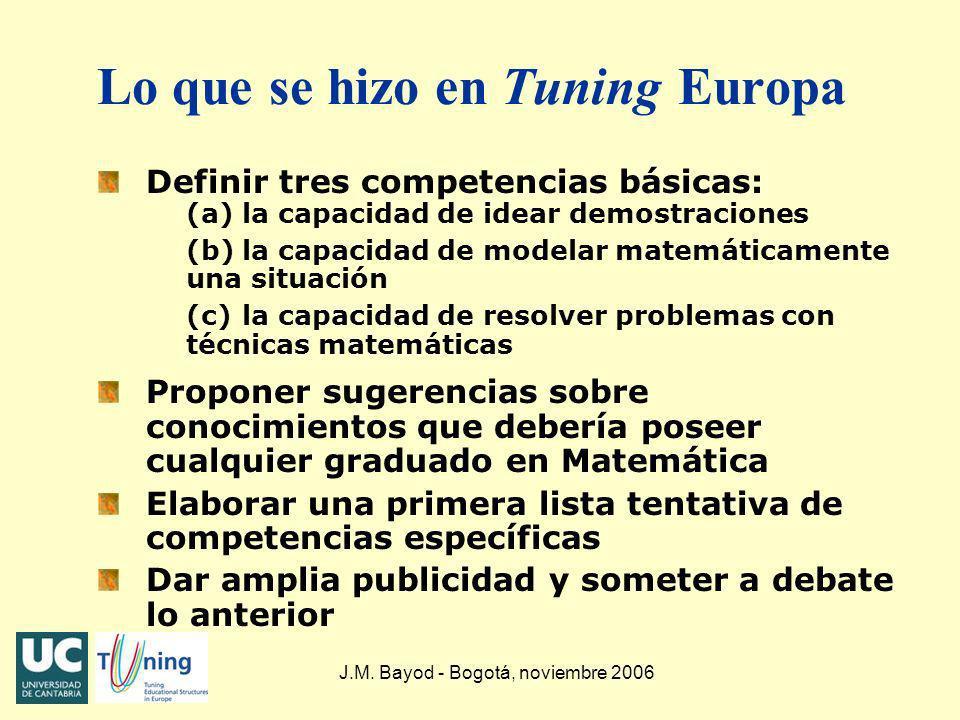 J.M. Bayod - Bogotá, noviembre 2006 Lo que se hizo en Tuning Europa Definir tres competencias básicas: (a)la capacidad de idear demostraciones (b)la c