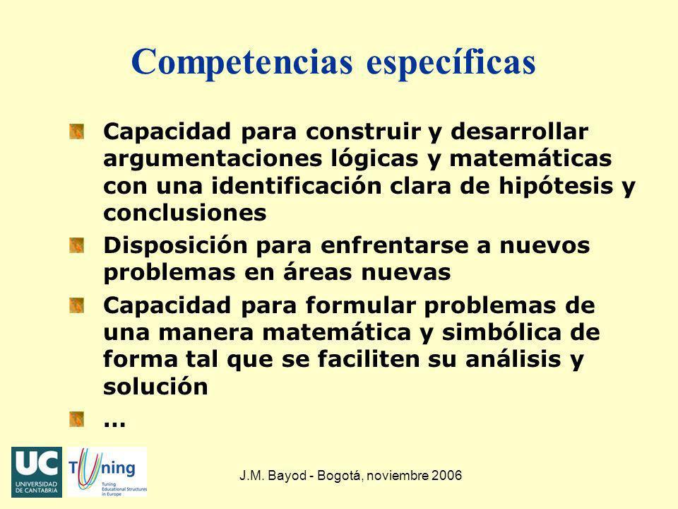 J.M. Bayod - Bogotá, noviembre 2006 Competencias específicas Capacidad para construir y desarrollar argumentaciones lógicas y matemáticas con una iden