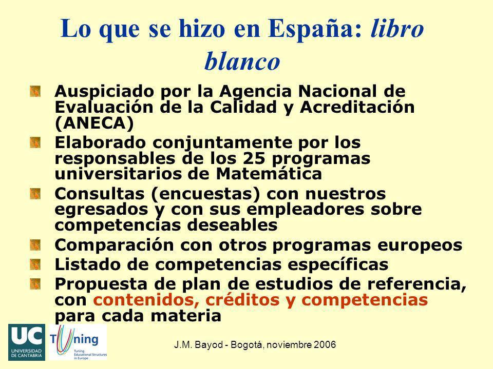 J.M. Bayod - Bogotá, noviembre 2006 Lo que se hizo en España: libro blanco Auspiciado por la Agencia Nacional de Evaluación de la Calidad y Acreditaci