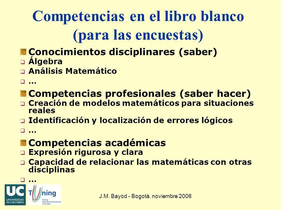 J.M. Bayod - Bogotá, noviembre 2006 Competencias en el libro blanco (para las encuestas) Conocimientos disciplinares (saber) q Álgebra q Análisis Mate