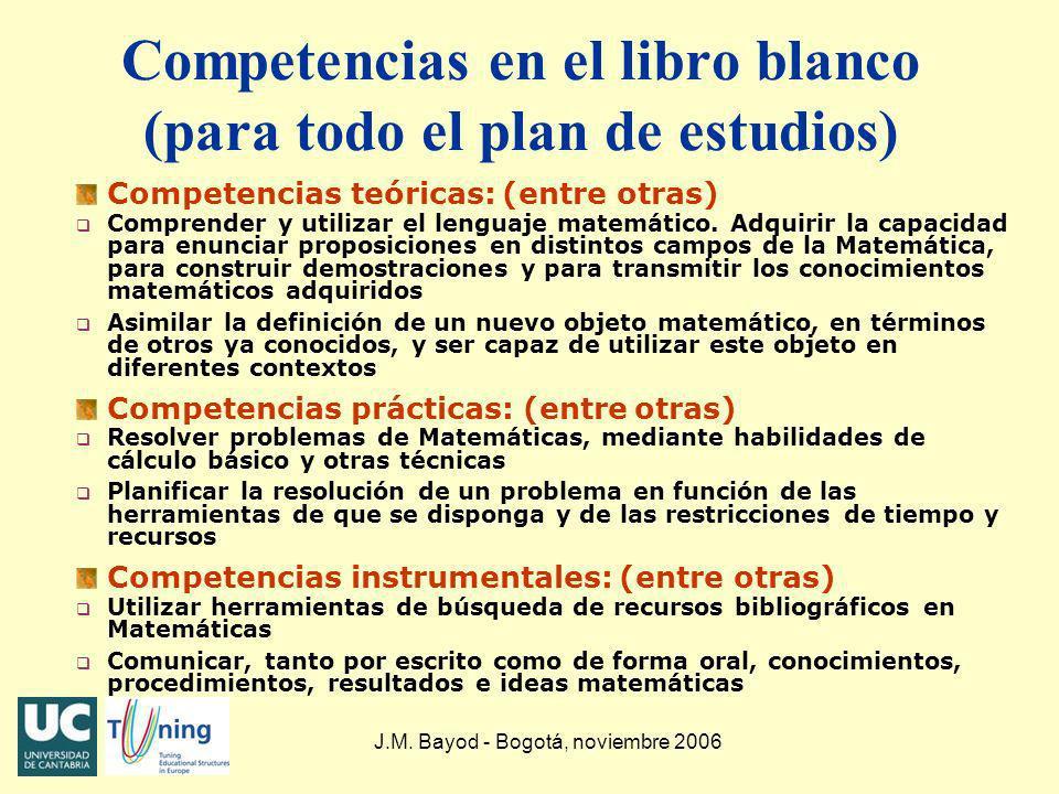 J.M. Bayod - Bogotá, noviembre 2006 Competencias en el libro blanco (para todo el plan de estudios) Competencias teóricas: (entre otras) q Comprender