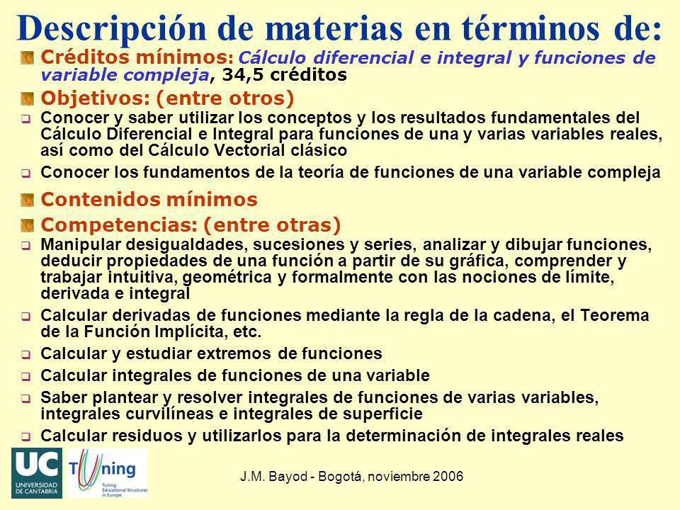 J.M. Bayod - Bogotá, noviembre 2006 Descripción de materias en términos de: Créditos mínimos : Cálculo diferencial e integral y funciones de variable