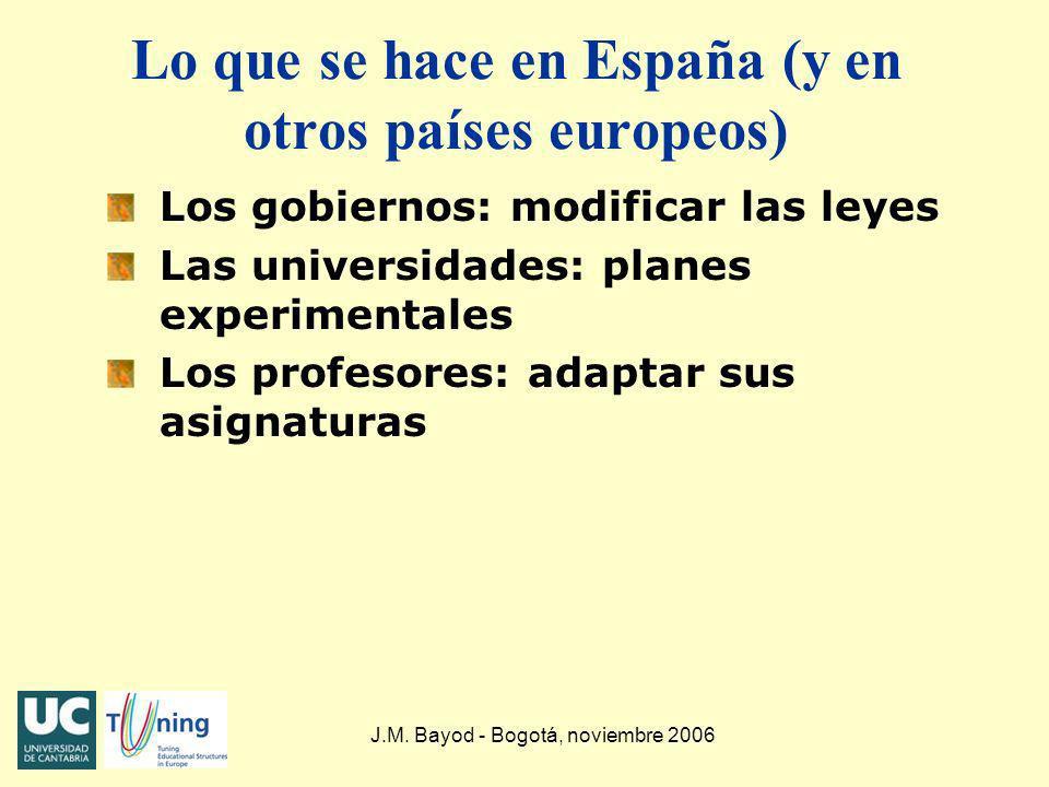 J.M. Bayod - Bogotá, noviembre 2006 Lo que se hace en España (y en otros países europeos) Los gobiernos: modificar las leyes Las universidades: planes