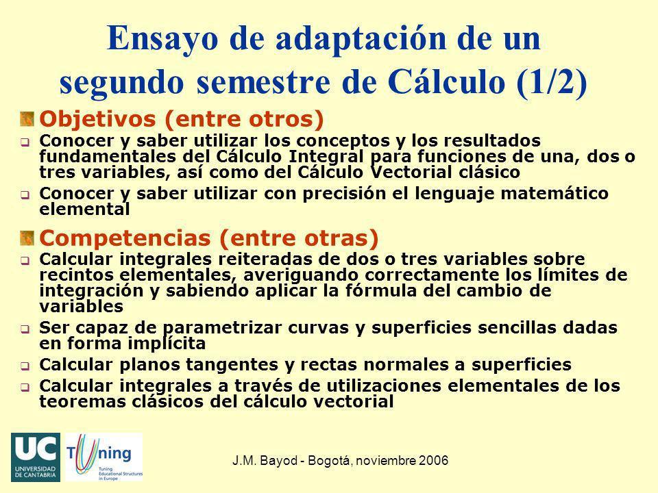 J.M. Bayod - Bogotá, noviembre 2006 Ensayo de adaptación de un segundo semestre de Cálculo (1/2) Objetivos (entre otros) q Conocer y saber utilizar lo