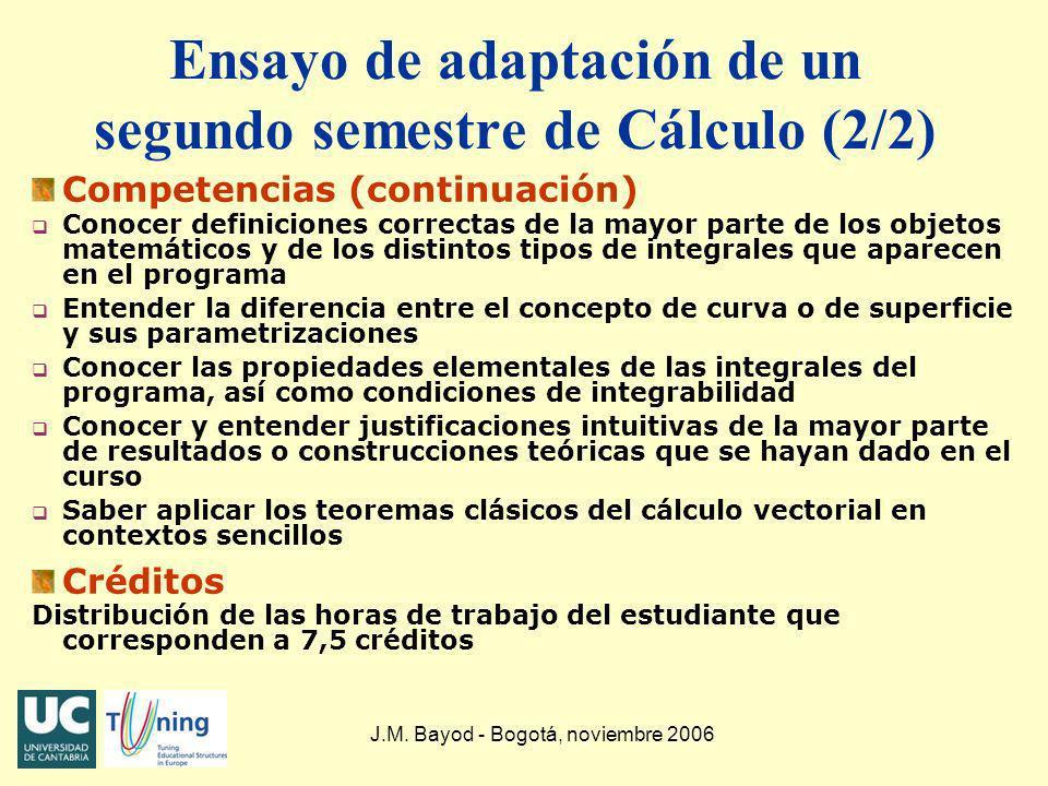 J.M. Bayod - Bogotá, noviembre 2006 Ensayo de adaptación de un segundo semestre de Cálculo (2/2) Competencias (continuación) q Conocer definiciones co