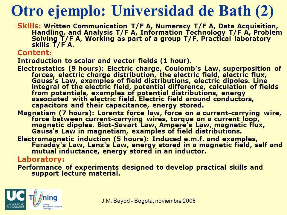 J.M. Bayod - Bogotá, noviembre 2006 Otro ejemplo: Universidad de Bath (2) Skills : Written Communication T/F A, Numeracy T/F A, Data Acquisition, Hand