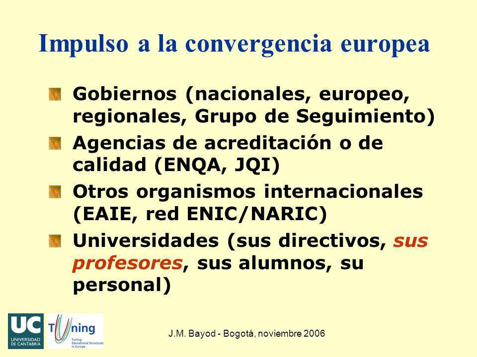 J.M. Bayod - Bogotá, noviembre 2006 Impulso a la convergencia europea Gobiernos (nacionales, europeo, regionales, Grupo de Seguimiento) Agencias de ac