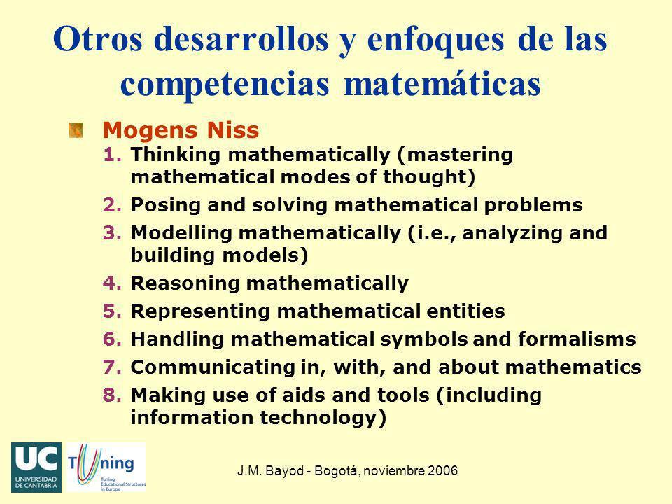 J.M. Bayod - Bogotá, noviembre 2006 Otros desarrollos y enfoques de las competencias matemáticas Mogens Niss 1.Thinking mathematically (mastering math