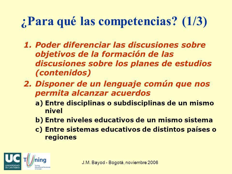 J.M. Bayod - Bogotá, noviembre 2006 ¿Para qué las competencias? (1/3) 1.Poder diferenciar las discusiones sobre objetivos de la formación de las discu
