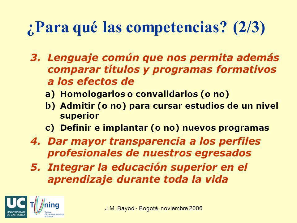 J.M. Bayod - Bogotá, noviembre 2006 ¿Para qué las competencias? (2/3) 3.Lenguaje común que nos permita además comparar títulos y programas formativos
