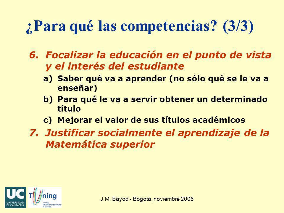 J.M. Bayod - Bogotá, noviembre 2006 ¿Para qué las competencias? (3/3) 6.Focalizar la educación en el punto de vista y el interés del estudiante a)Sabe