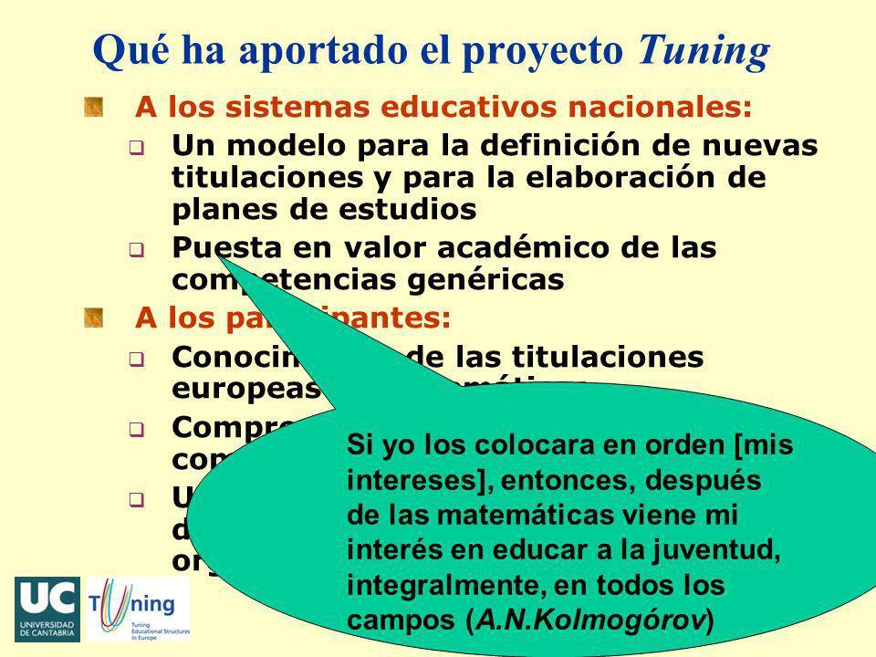 J.M. Bayod - Bogotá, noviembre 2006 Qué ha aportado el proyecto Tuning A los sistemas educativos nacionales: q Un modelo para la definición de nuevas