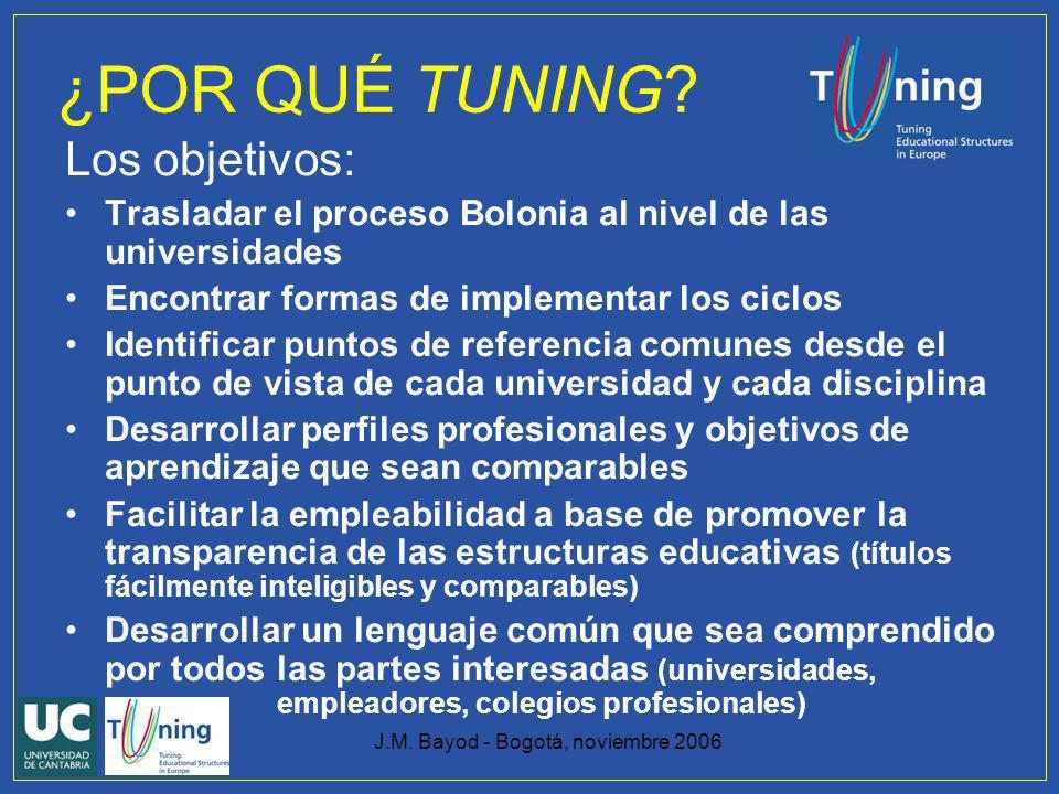 J.M. Bayod - Bogotá, noviembre 2006 ¿POR QUÉ TUNING? Los objetivos: Trasladar el proceso Bolonia al nivel de las universidades Encontrar formas de imp