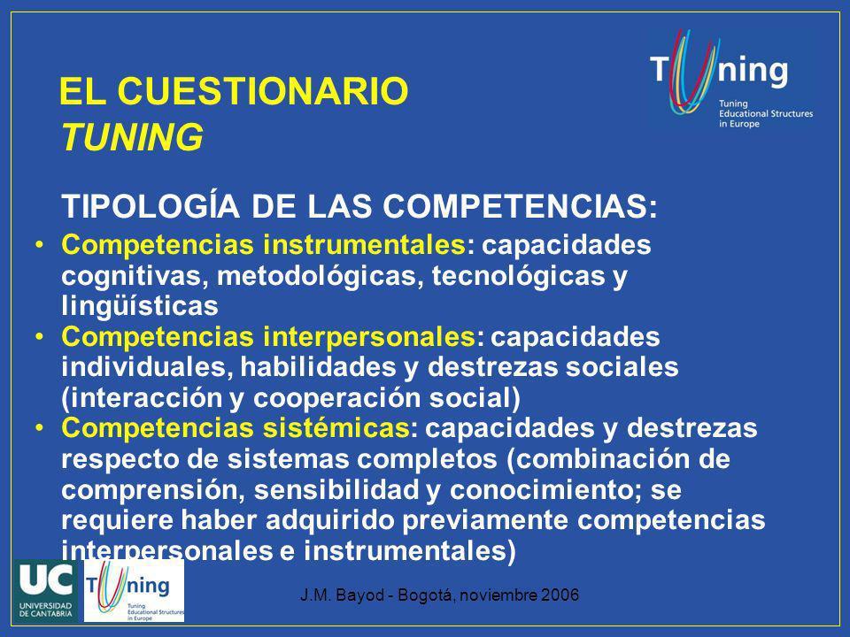 J.M. Bayod - Bogotá, noviembre 2006 TIPOLOGÍA DE LAS COMPETENCIAS: Competencias instrumentales: capacidades cognitivas, metodológicas, tecnológicas y