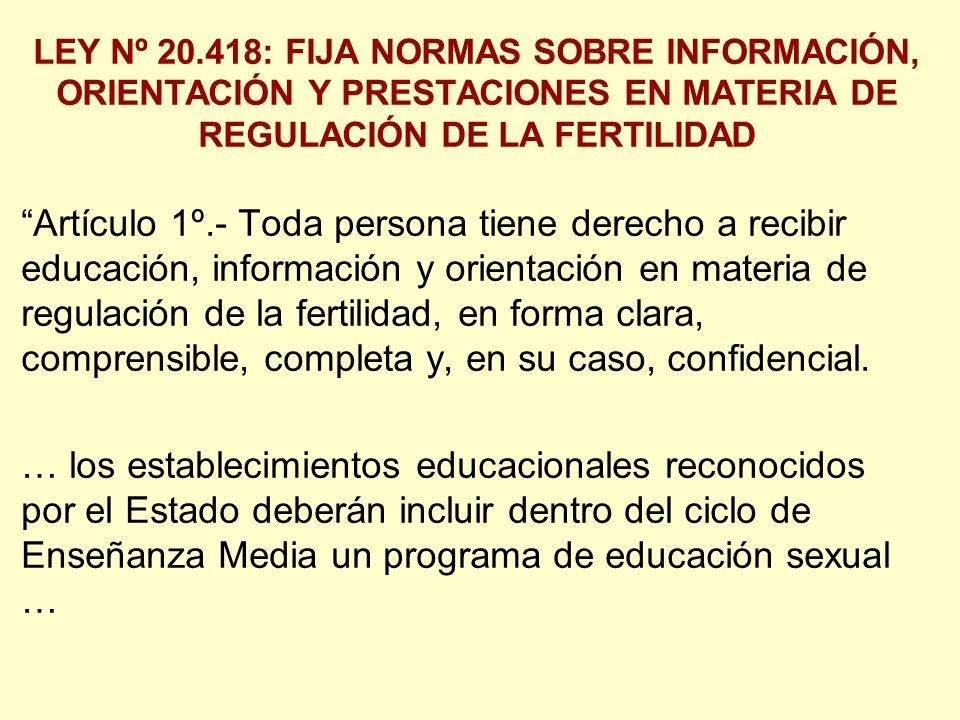 LEY Nº 20.418: FIJA NORMAS SOBRE INFORMACIÓN, ORIENTACIÓN Y PRESTACIONES EN MATERIA DE REGULACIÓN DE LA FERTILIDAD Artículo 1º.- Toda persona tiene derecho a recibir educación, información y orientación en materia de regulación de la fertilidad, en forma clara, comprensible, completa y, en su caso, confidencial.