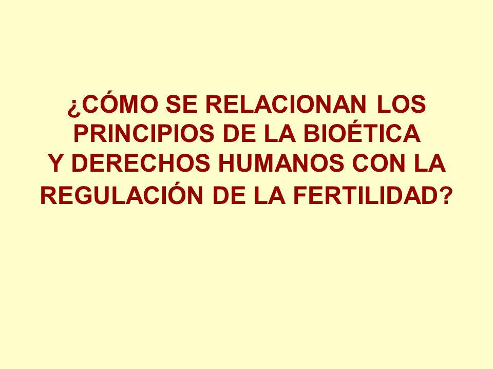 ¿CÓMO SE RELACIONAN LOS PRINCIPIOS DE LA BIOÉTICA Y DERECHOS HUMANOS CON LA REGULACIÓN DE LA FERTILIDAD