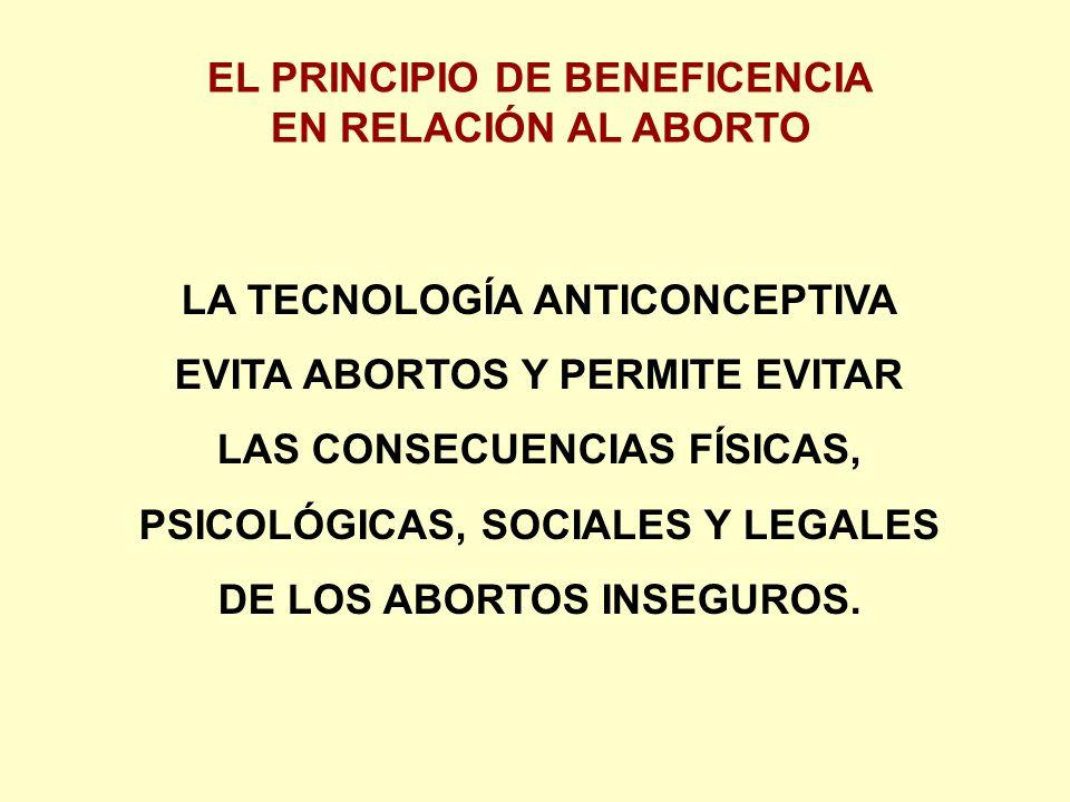 EL PRINCIPIO DE BENEFICENCIA EN RELACIÓN AL ABORTO LA TECNOLOGÍA ANTICONCEPTIVA EVITA ABORTOS Y PERMITE EVITAR LAS CONSECUENCIAS FÍSICAS, PSICOLÓGICAS, SOCIALES Y LEGALES DE LOS ABORTOS INSEGUROS.
