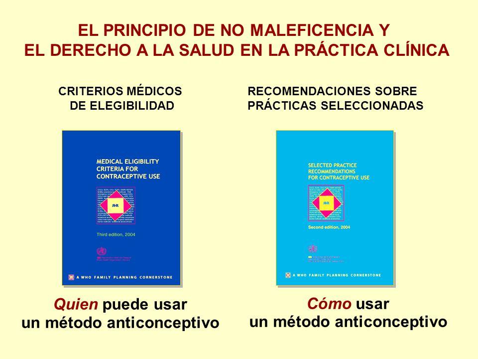 Quien puede usar un método anticonceptivo CRITERIOS MÉDICOS DE ELEGIBILIDAD RECOMENDACIONES SOBRE PRÁCTICAS SELECCIONADAS Cómo usar un método anticonceptivo EL PRINCIPIO DE NO MALEFICENCIA Y EL DERECHO A LA SALUD EN LA PRÁCTICA CLÍNICA