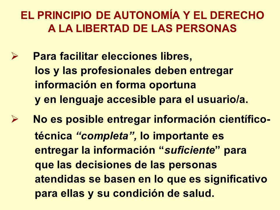 Para facilitar elecciones libres, los y las profesionales deben entregar información en forma oportuna y en lenguaje accesible para el usuario/a.