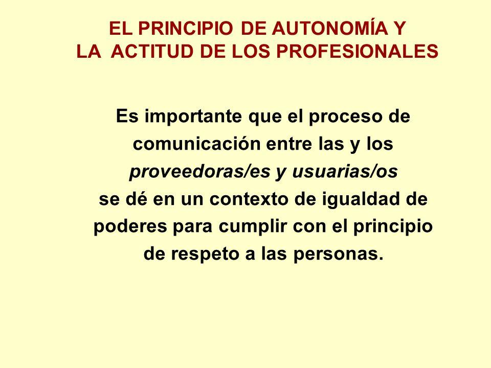Es importante que el proceso de comunicación entre las y los proveedoras/es y usuarias/os se dé en un contexto de igualdad de poderes para cumplir con el principio de respeto a las personas.