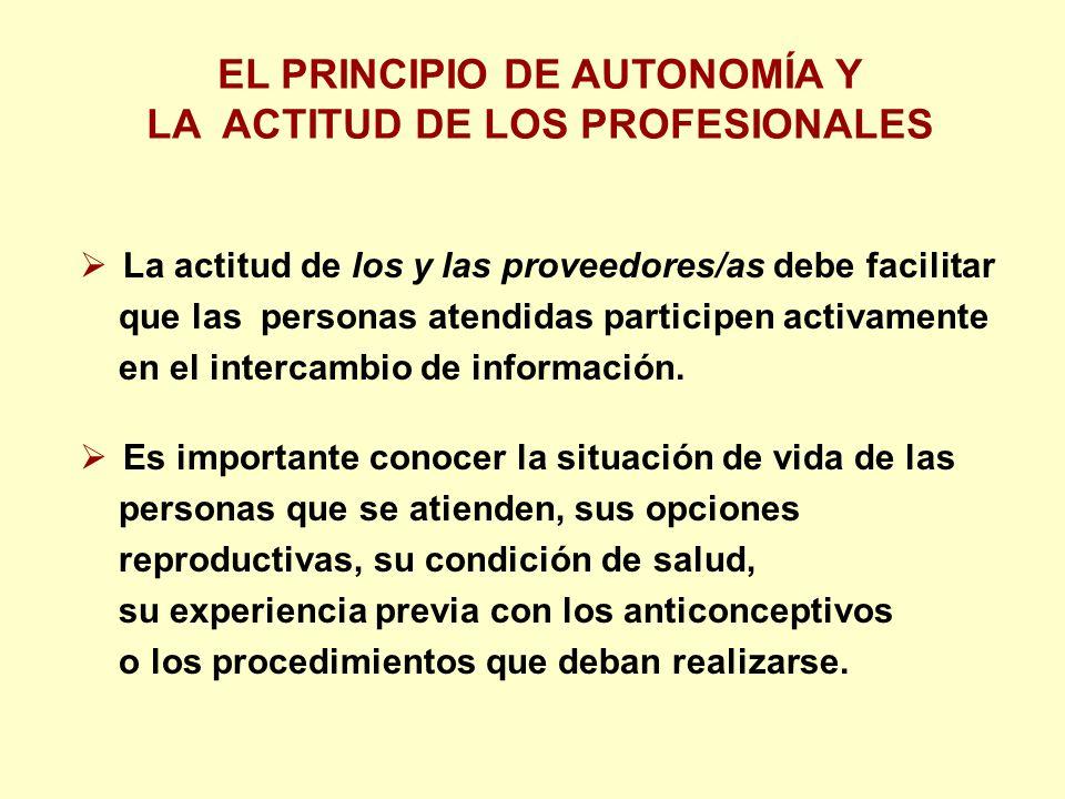La actitud de los y las proveedores/as debe facilitar que las personas atendidas participen activamente en el intercambio de información.