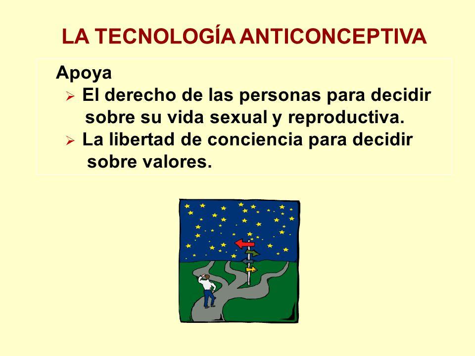 LA TECNOLOGÍA ANTICONCEPTIVA Apoya El derecho de las personas para decidir sobre su vida sexual y reproductiva.