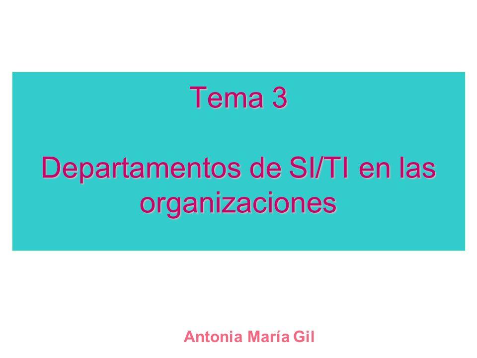 Tema 3 Departamentos de SI/TI en las organizaciones Antonia María Gil