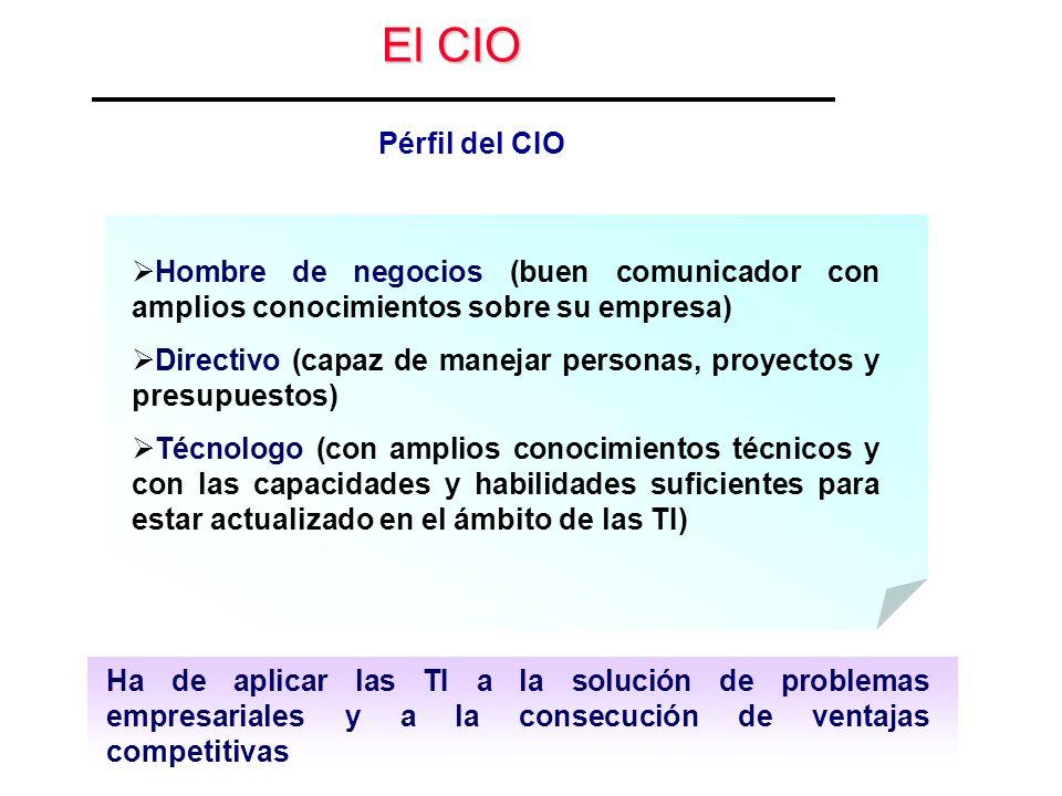 El CIO Pérfil del CIO Hombre de negocios (buen comunicador con amplios conocimientos sobre su empresa) Directivo (capaz de manejar personas, proyectos