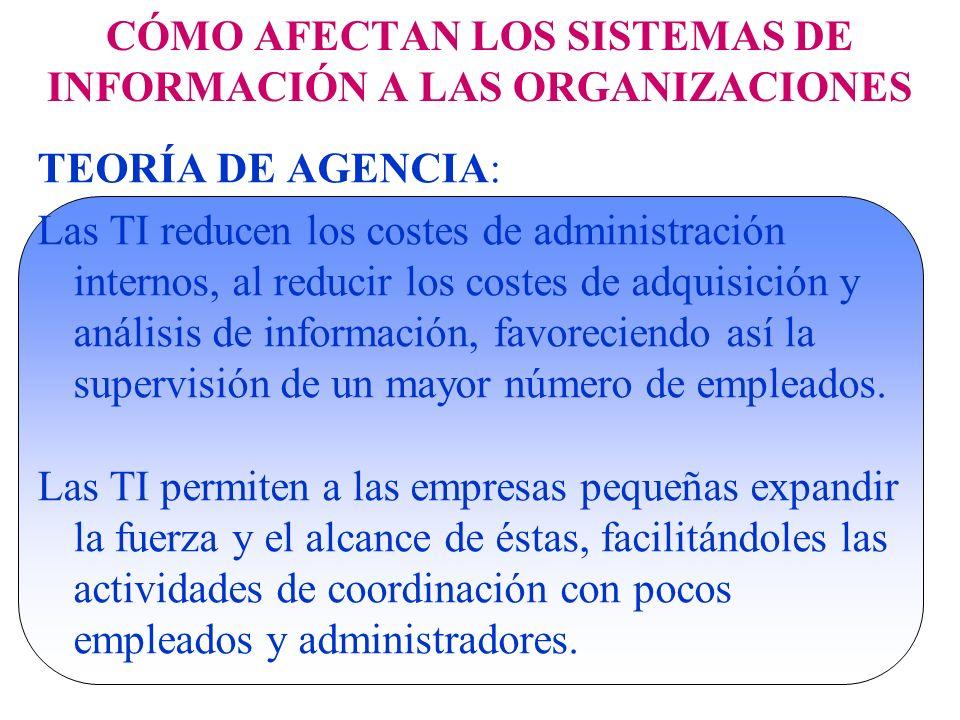 CÓMO AFECTAN LOS SISTEMAS DE INFORMACIÓN A LAS ORGANIZACIONES TEORÍA DE AGENCIA: Las TI reducen los costes de administración internos, al reducir los