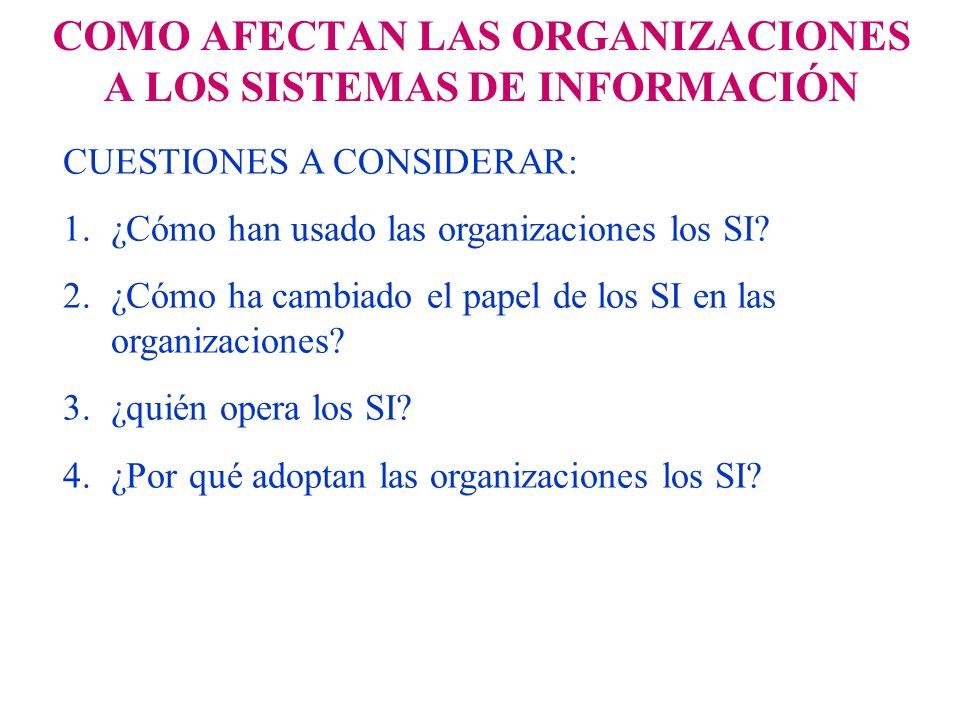 COMO AFECTAN LAS ORGANIZACIONES A LOS SISTEMAS DE INFORMACIÓN CUESTIONES A CONSIDERAR: 1.¿Cómo han usado las organizaciones los SI? 2.¿Cómo ha cambiad