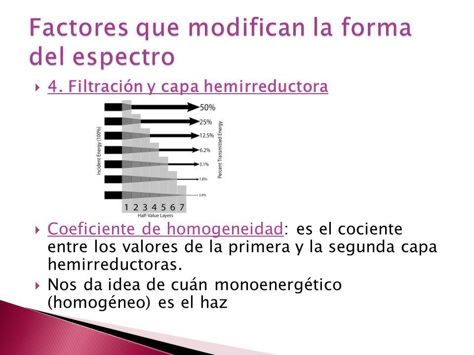 4. Filtración y capa hemirreductora Coeficiente de homogeneidad: es el cociente entre los valores de la primera y la segunda capa hemirreductoras. Nos