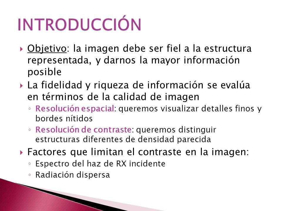 Objetivo: la imagen debe ser fiel a la estructura representada, y darnos la mayor información posible La fidelidad y riqueza de información se evalúa en términos de la calidad de imagen Resolución espacial: queremos visualizar detalles finos y bordes nítidos Resolución de contraste: queremos distinguir estructuras diferentes de densidad parecida Factores que limitan el contraste en la imagen: Espectro del haz de RX incidente Radiación dispersa