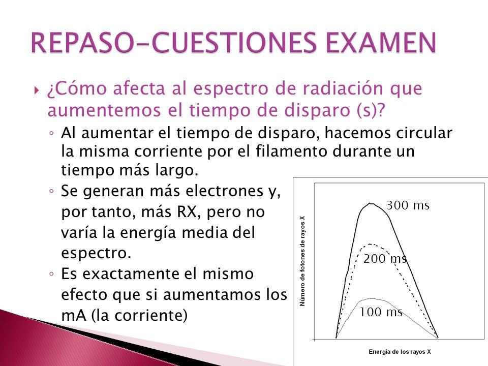 100 ms 200 ms 300 ms ¿Cómo afecta al espectro de radiación que aumentemos el tiempo de disparo (s).