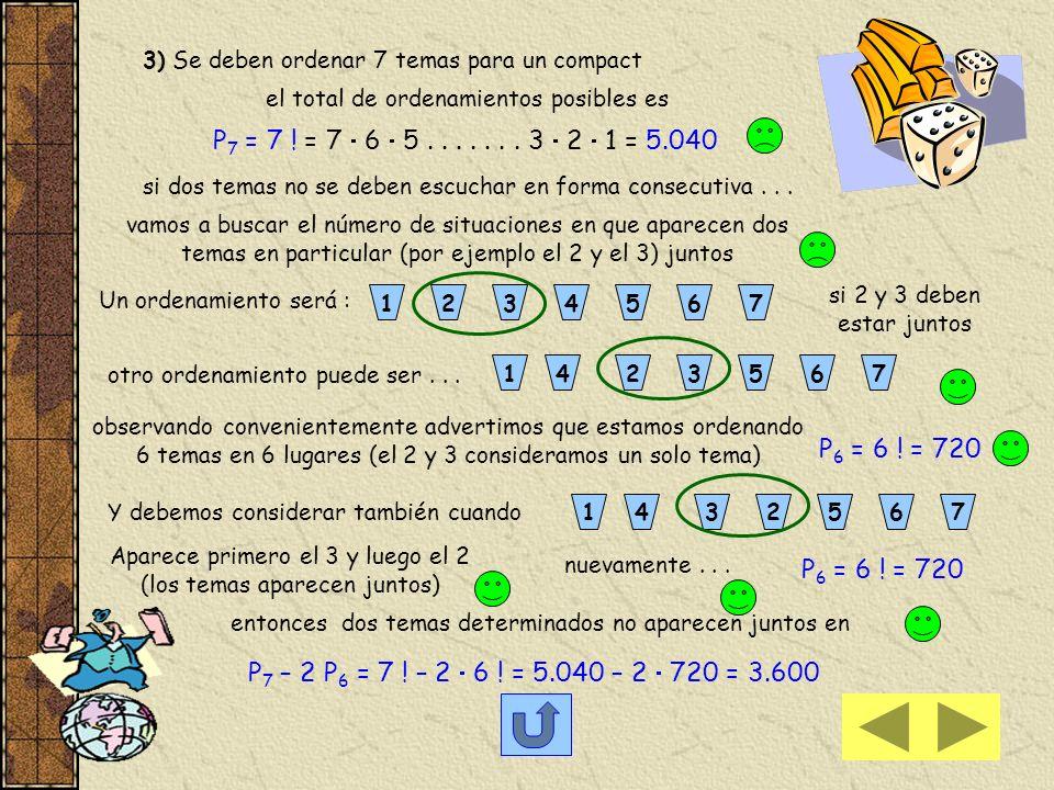 1) Calculamos previamente el número de palabras con o sin sentido que se forman con las letras de la palabra MESA, sin repetir letras Se trata de orde