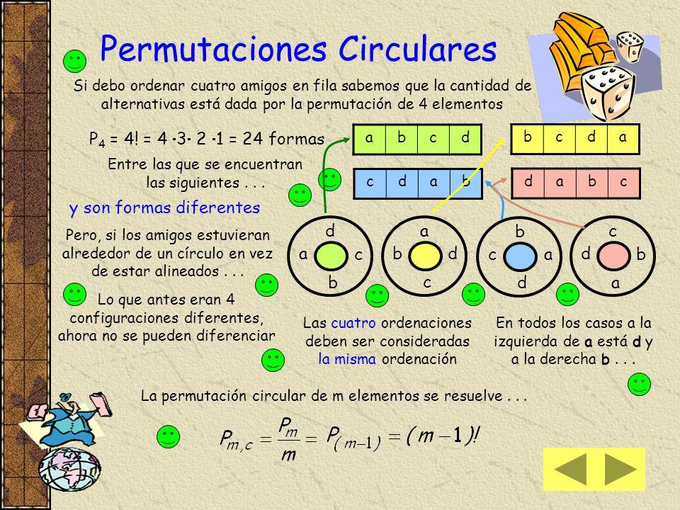 5) Supongamos que el maletín tenga una sola rueda de 6 dígitos Las posibilidades serán que se abra con 1, 2, 3, 4, 5, ó 6 Lo que significa que en el p
