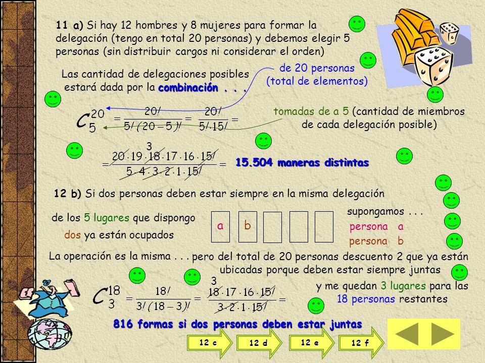 d) Para saber cuántos triángulos tienen vértice en a : En principio tengo 10 elementos (puntos) para 3 lugares (vértices del triángulo) Si el elemento