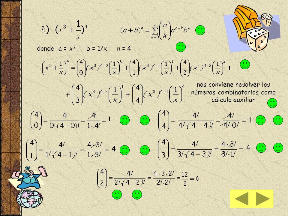 reemplazamos los valores de los números combinatorios hallados en la expresión observe que los números combinatorios equidistantes que conforman el de