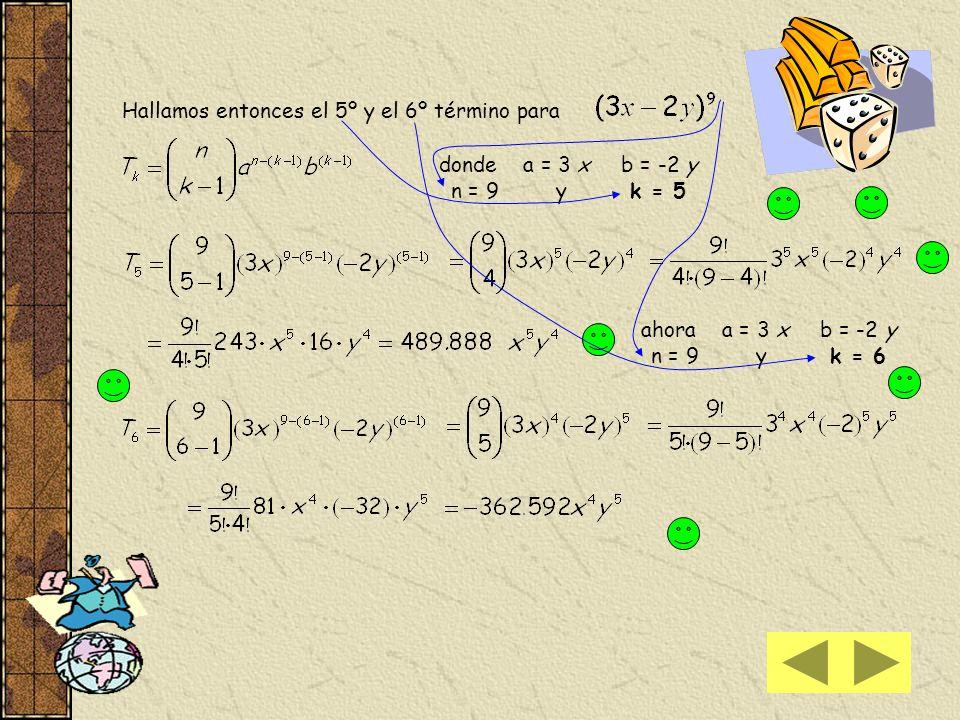 17) a) Para hallar el undécimo término sin efectuar el desarrollo de Aplicamos la fórmula donde a = 2 x 2 ; b = - x ; n = 15 y k = 11 Tenga presente q
