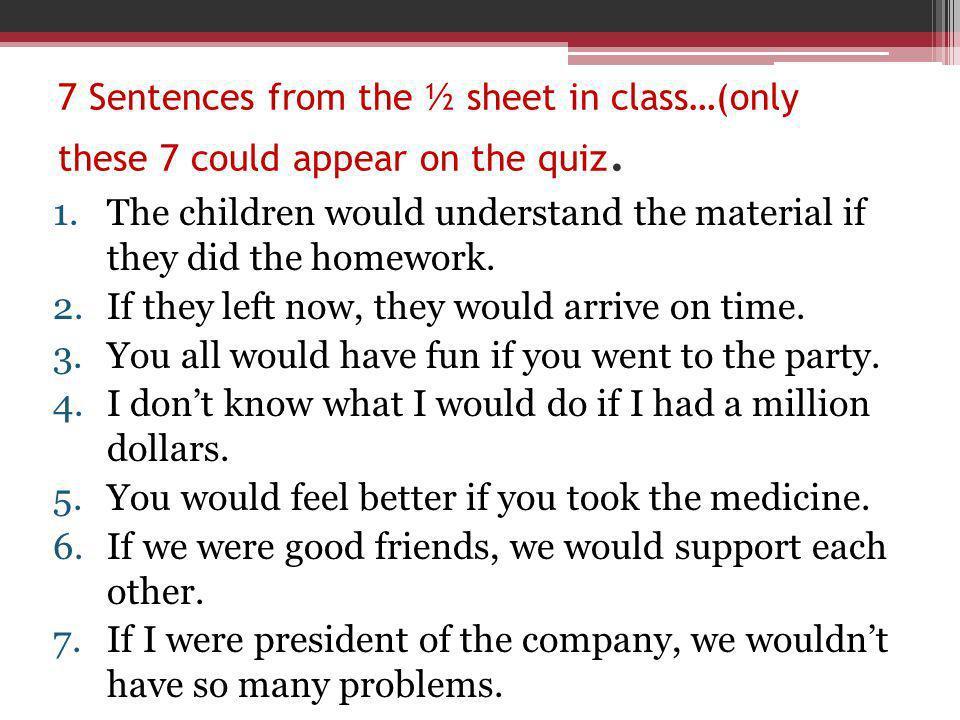 Respuestas: 1.Entenderían 2.Salieran 3.Se divertirían 4.Tuviera 5.Fuera 6.Tomaras 7.Estuviera 8.Nos apoyaríamos 9.Tendríamos 10.Si los adolescentes recibieran la inyección, ellos jamás se morirían.