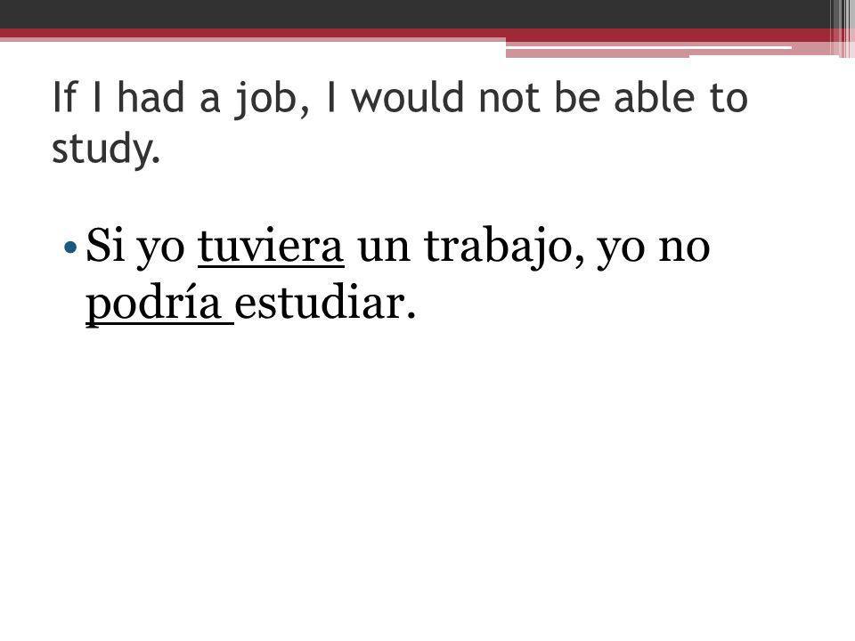 If I had a job, I would not be able to study. Si yo tuviera un trabajo, yo no podría estudiar.