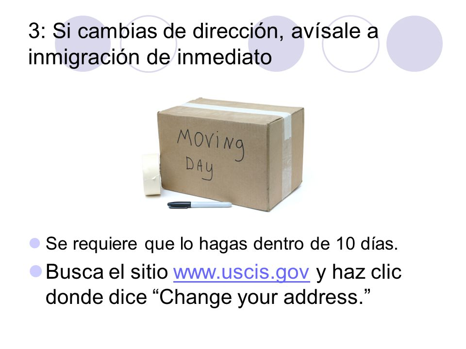3: Si cambias de direcci ón, avísale a inmigración de inmediato Se requiere que lo hagas dentro de 10 días. Busca el sitio www.uscis.gov y haz clic do