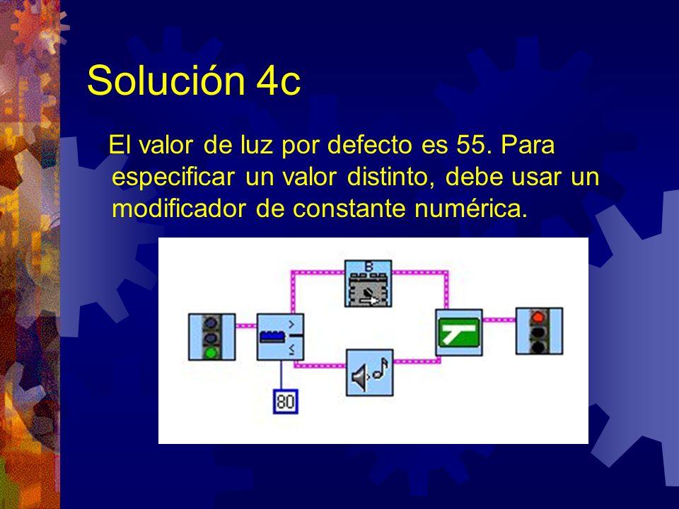 Solución 4c El valor de luz por defecto es 55. Para especificar un valor distinto, debe usar un modificador de constante numérica.