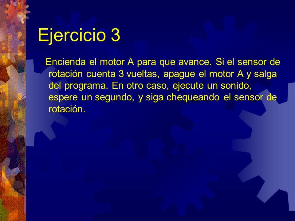 Ejercicio 3: Solución Al usar una bifurcación de rotación, debe poner a cero el contador.