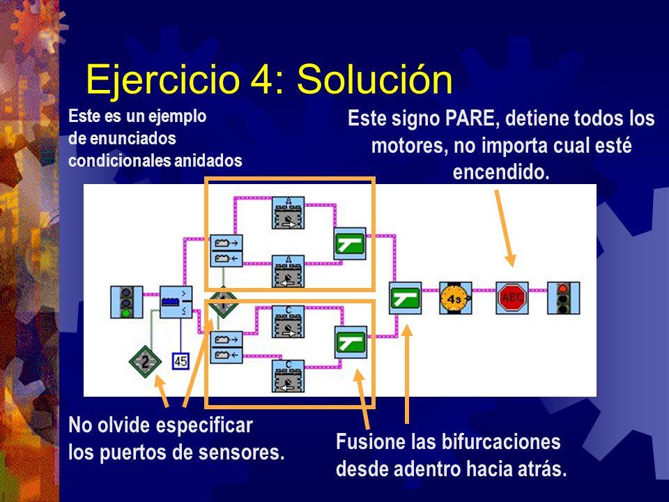 Ejercicio 4: Solución Este es un ejemplo de enunciados condicionales anidados No olvide especificar los puertos de sensores. Este signo PARE, detiene