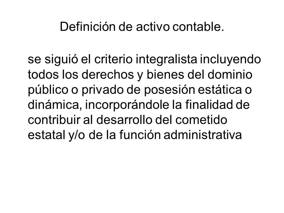 Definición de activo contable. se siguió el criterio integralista incluyendo todos los derechos y bienes del dominio público o privado de posesión est