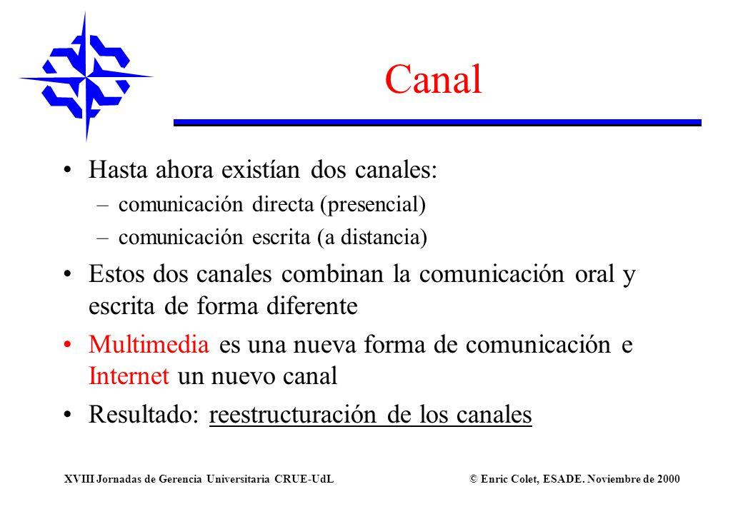© Enric Colet, ESADE. Noviembre de 2000XVIII Jornadas de Gerencia Universitaria CRUE-UdL Canal Hasta ahora existían dos canales: –comunicación directa