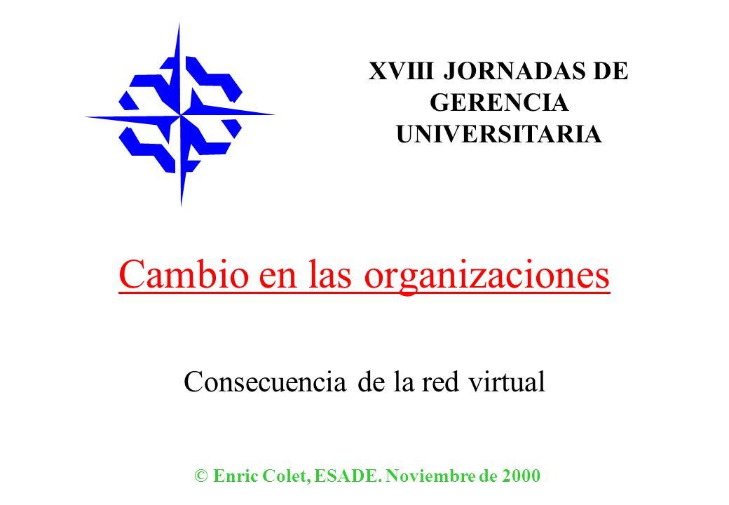 XVIII JORNADAS DE GERENCIA UNIVERSITARIA © Enric Colet, ESADE. Noviembre de 2000 Cambio en las organizaciones Consecuencia de la red virtual