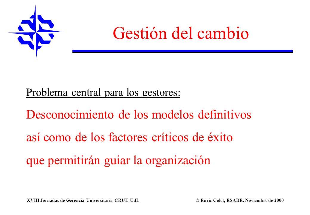 © Enric Colet, ESADE. Noviembre de 2000XVIII Jornadas de Gerencia Universitaria CRUE-UdL Gestión del cambio Problema central para los gestores: Descon