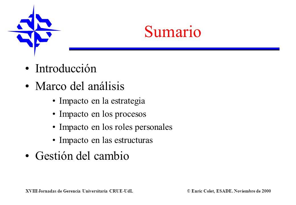 © Enric Colet, ESADE. Noviembre de 2000XVIII Jornadas de Gerencia Universitaria CRUE-UdL Sumario Introducción Marco del análisis Impacto en la estrate