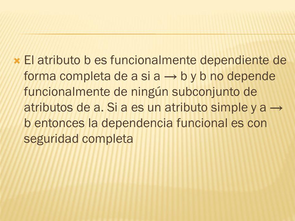El atributo b es funcionalmente dependiente de forma completa de a si a b y b no depende funcionalmente de ningún subconjunto de atributos de a.